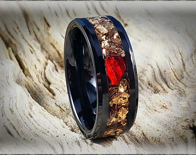Black Ceramic Channel Ring w/Large Brass Flake and Red Opal chunk  inlay
