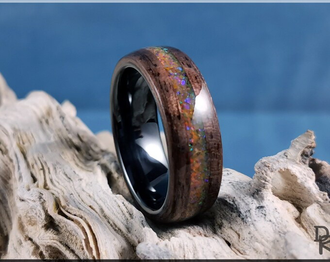 Bentwood Ring - Curly Black Walnut w/Amber Opal inlay, on Polished Black Ceramic ring core