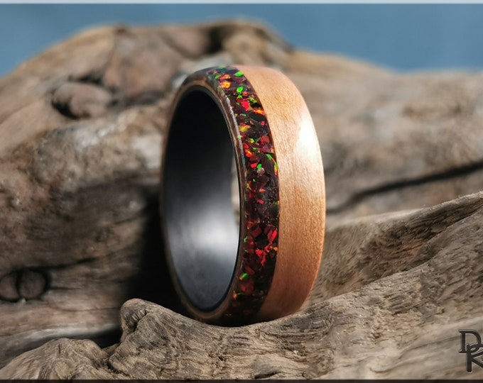 Bentwood Ring - Black Cherry w\Live Edge Multi Cherry Opal inlay, on Carbon Fiber ring core - Wood Ring