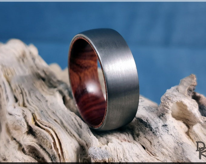 Brushed 8mm Tungsten Carbide Ring w/exotic wood inner core