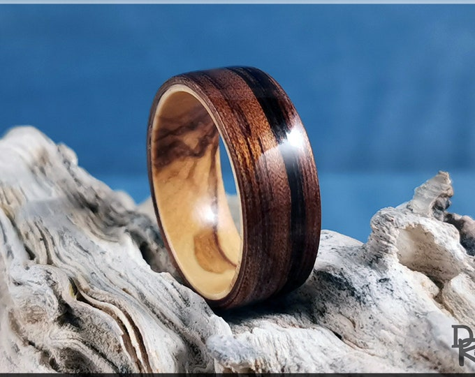 Bentwood Ring - Mangowood on Olivewood ring core - Wood Ring