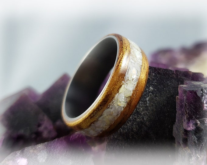 Bentwood Ring - Golden Hawaiian Koa w/Mother of Pearl inlay on titanium ring core