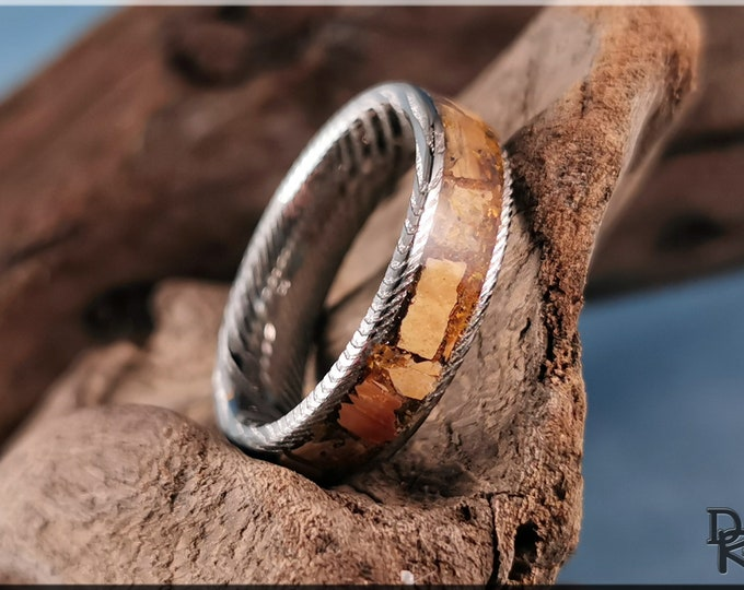 Genuine Damascus Steel Channel Ring w/Mammoth Tusk and Tiger's Eye Stone inlay