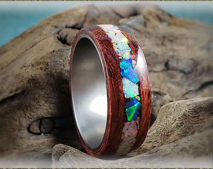 Bentwood Ring - Waterfall Bubinga w/Fire and Snow and Multi Teal chunk opal inlay, on titanium ring core