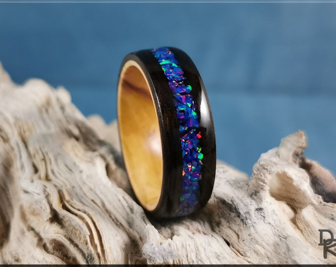 Bentwood Ring - Smoked Eucalyptus w/Starry Night Opal inlay, on Olivewood ring core