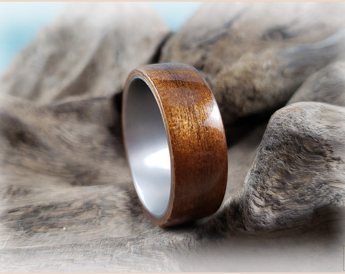 Bentwood Ring - Fumed Aspen on titanium ring core