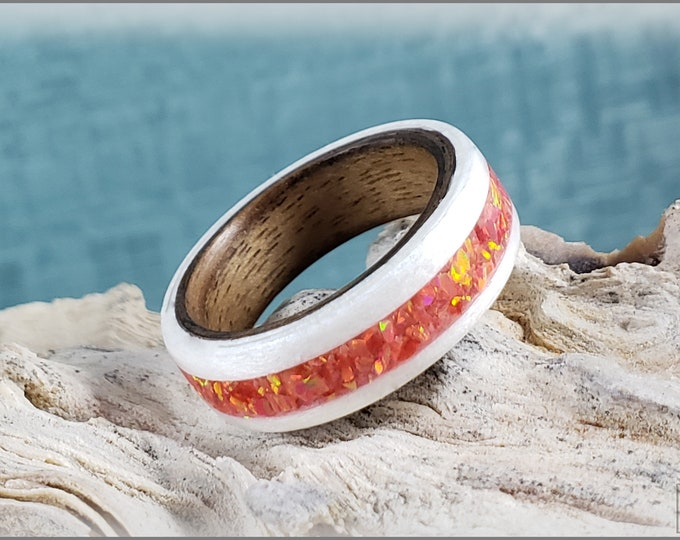 Dual Bentwood Ring - Snow White Sycamore w/Alazarin Crimson Opal inlay, on bentwood Curly Black Walnut ring core