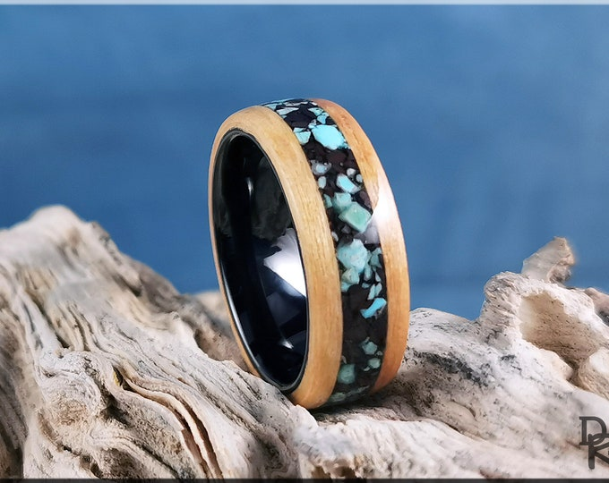 Bentwood Ring - Swiss Aspen w/blended Turquoise and Hematite Stone inlay, on Polished Black Ceramic ring core