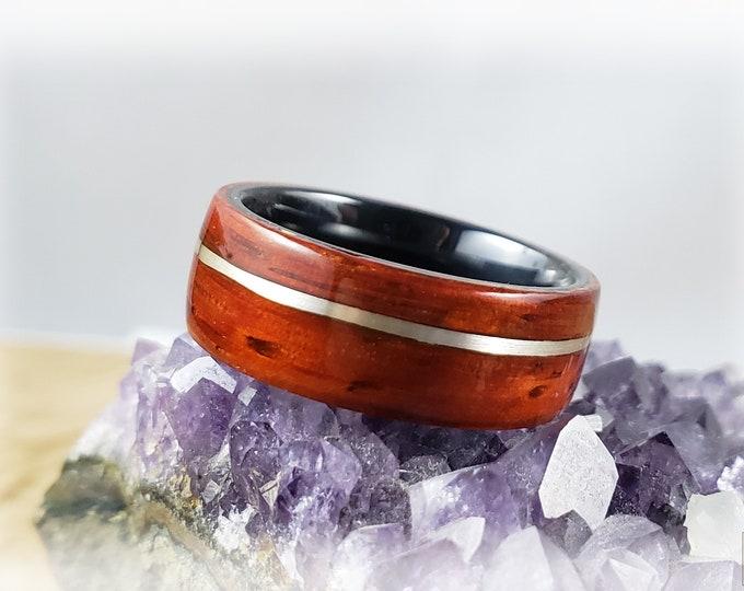 Bentwood Ring - Padauk w/offset silver inlay on titanium core