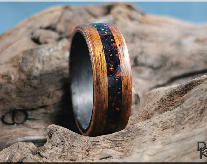 Bentwood Ring - English Brown Oak w/Black Fire Opal inlay, on Carbon Fiber inner core - Wood Ring