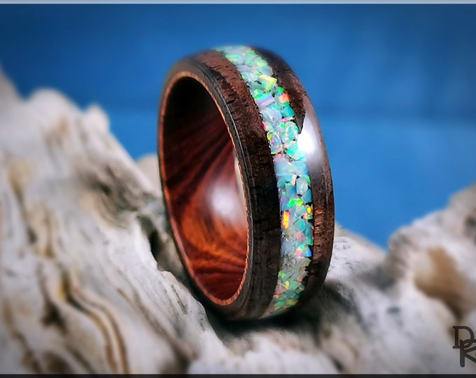 Bentwood Ring - Black Walnut Burl w/Fire and Snow opal inlay on Ironwood Core