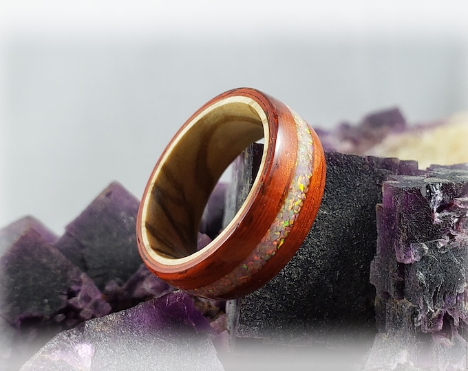 Bentwood Ring - Candy Striped Padauk w/Sun and Ice Opal inlay, on Olivewood ring core