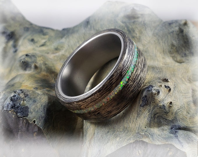 Bentwood Ring - Harborica w/offset White Fire opal inlay on titanium ring core