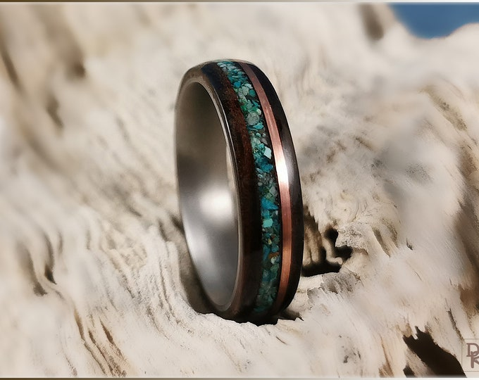 Bentwood Ring - Amara Ebony w/dual Copper and Chrysocolla stone inlay, on titanium ring core