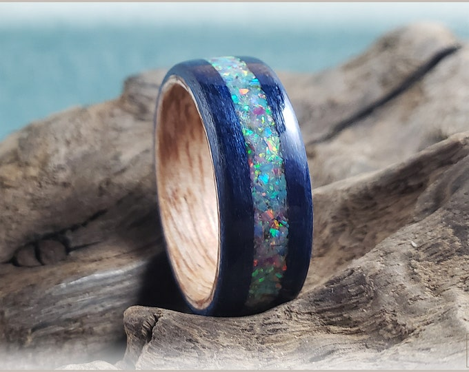 Dual Bentwood Ring - Midnight Blue Tulipwood w/House Blend Opal inlay, on bentwood Okoume ring core