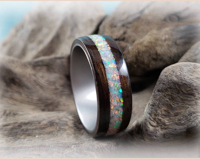 Bentwood Ring - Smoked Eucalyptus w/House Blend Opal inlay, on Titanium ring core