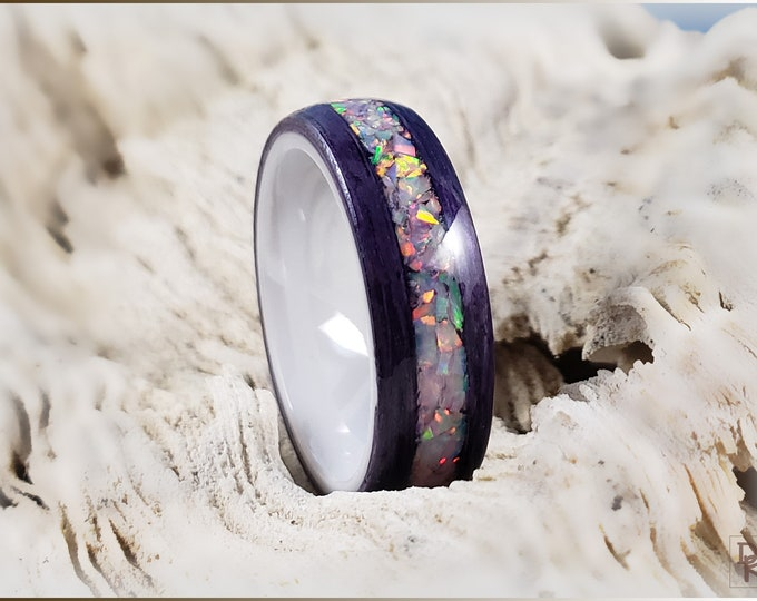 Bentwood Ring - Amethyst Koto w/Sun and Ice Opal inlay, on polished white ceramic ring core