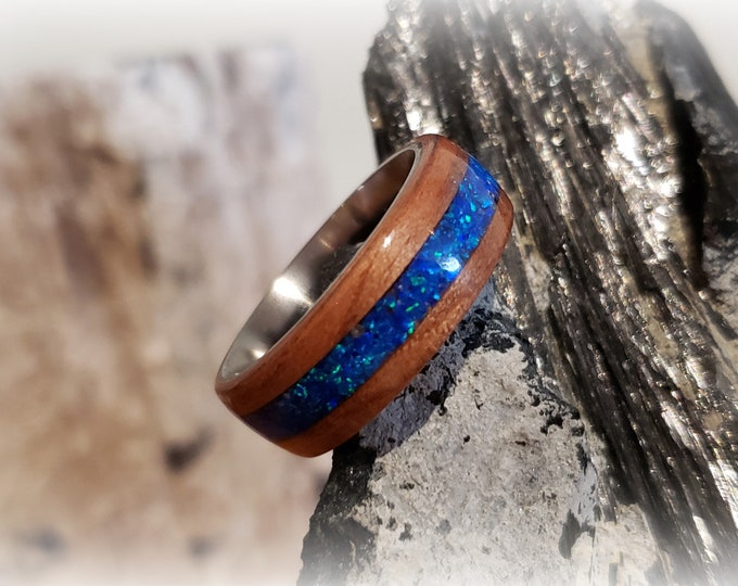 Bentwood Ring - Tineo w/Sleepy Blue opal inlay, titanium core.