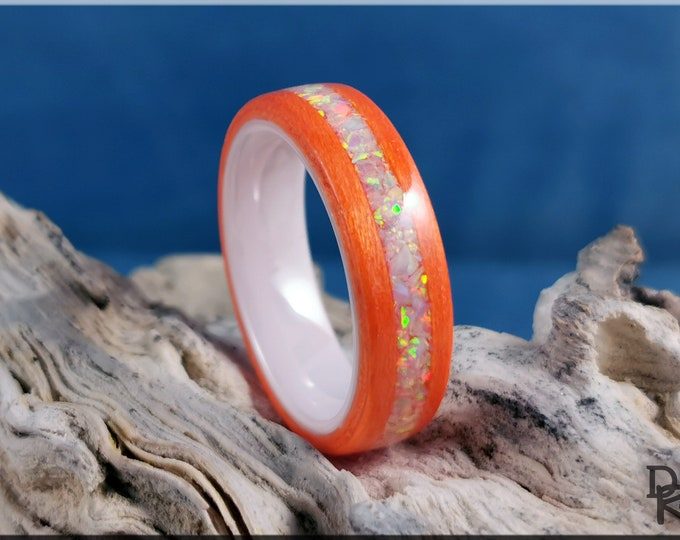 Bentwood Ring - Orange Tulipwood w/Fire and Snow Opal inlay, on polished white ceramic ring core - Wood Ring