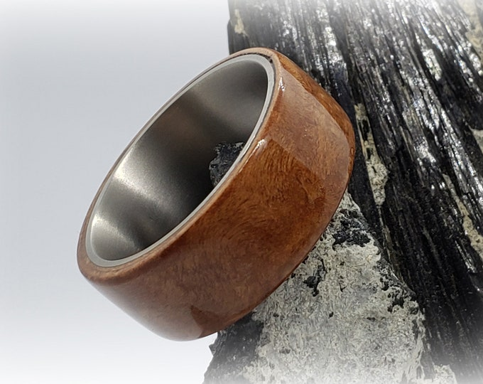 Bentwood Ring - Madrona Burl - titanium ring core.