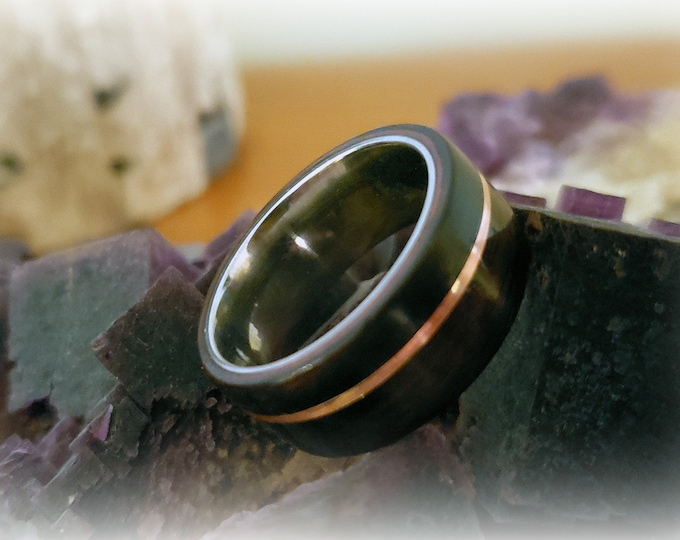 Bentwood Ring - Macassar Ebony w/offset copper inlay, titanium ring core.