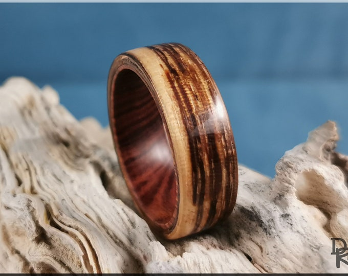 Bentwood Ring - Zebrano on Ironwood inner ring core - Wood Ring