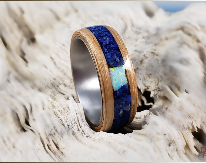 Bentwood Ring - Pecan Wood w\Lapis Lazuli and White Opal Chunk inlay, on titanium ring core