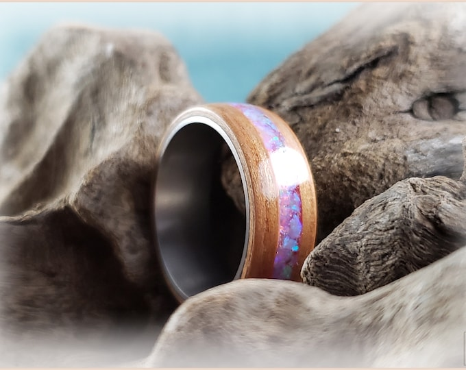 Bentwood Ring - Curly Cherry w/Carnation Pink opal inlay, on titanium ring core