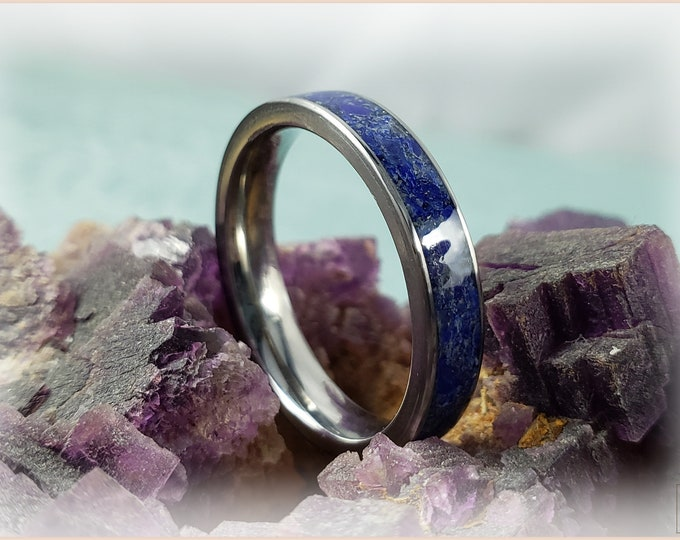 4mm Titanium Channel Ring w/Lapis Lazuli stone inlay