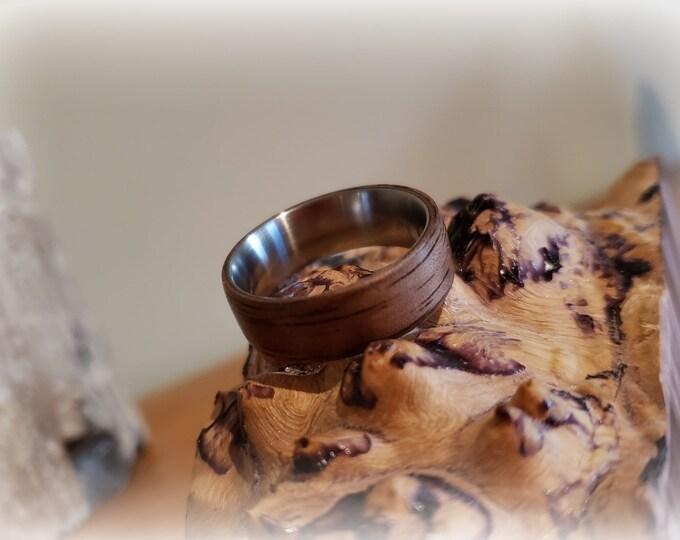 Bentwood Ring - Black Walnut on titanium ring core