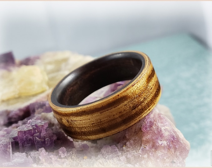 Dual Bentwood Ring - Zebrano on custom Bentwood Amara Ebony ring core