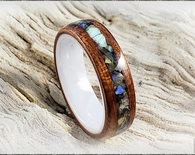 Bentwood Ring - Bubinga w/Abalone Shell and White chunk opal inlay, on polished white ceramic ring core
