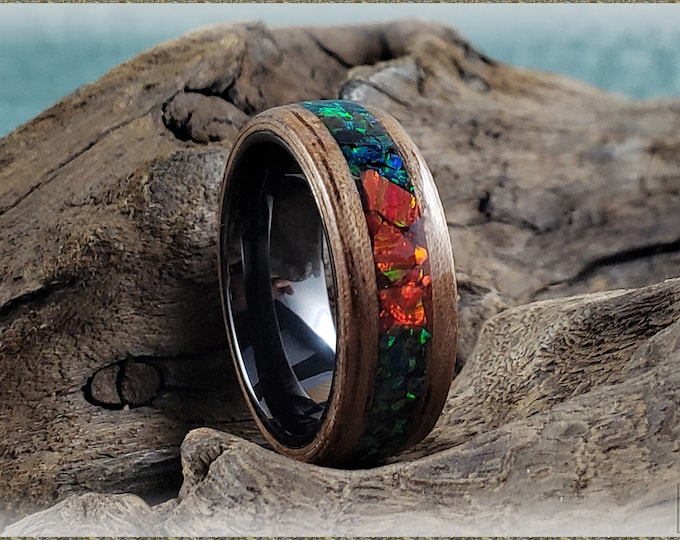 Bentwood Ring - Black Walnut w/Black Emerald and triple Ruby Fire chunk opal inlay, on Polished Black Ceramic ring core