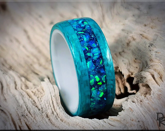 Bentwood Ring - Ocean Blue Koto w/Azure Opal inlay, on polished white ceramic ring core