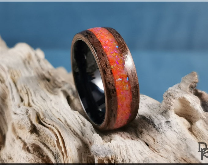 Bentwood Ring - Curly Black Walnut w/Amber Opal Glow inlay, on Polished Black Ceramic ring core