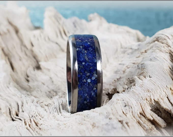 8mm Titanium Channel Ring w/Lapis Lazuli stone inlay