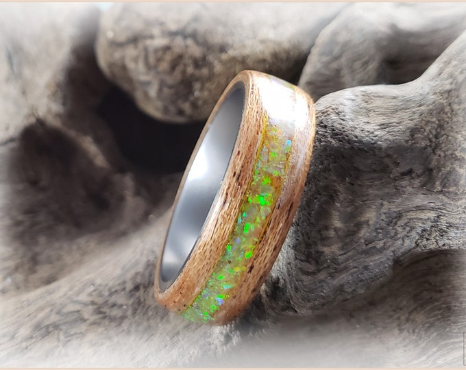 Bentwood Ring - Okoume w/Citrine opal inlay, on titanium core