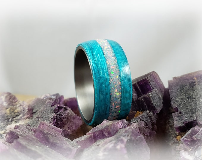 Bentwood Ring - Ocean Blue Koto w/Sun and Ice opal inlay on titanium core
