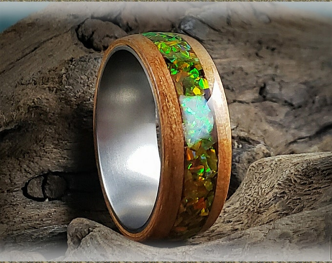Bentwood Ring - Curly Cherry w/Multi Olive and Fire and Snow chunk opal inlay, on titanium ring core