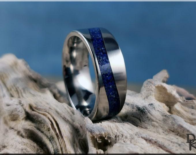 Titanium Wave 8mm Channel Ring w/Lapis Lazuli inlay - metal ring