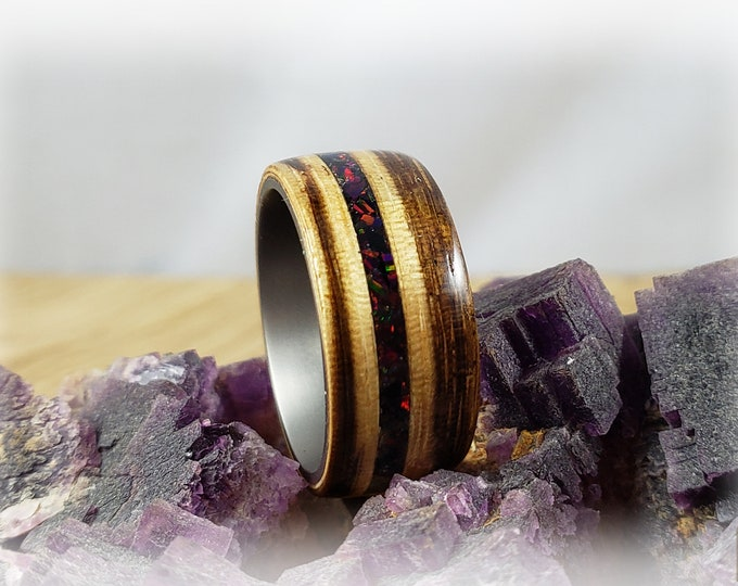 Bentwood Ring - Zebrano w/Black Fire Opal on titanium ring core