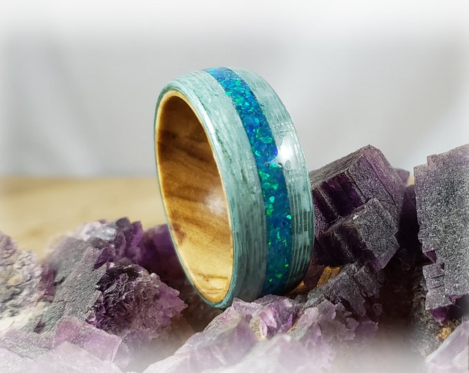 Bentwood Ring - Aqua Blue Koto w/Peacock Blue Opal inlay on Olivewood core