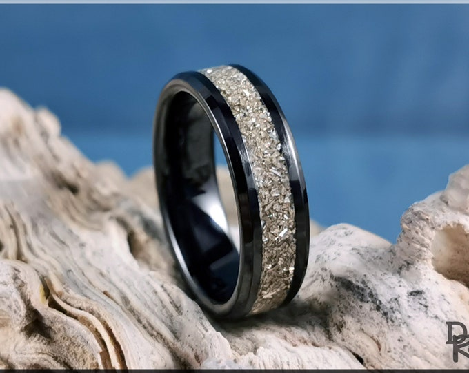 Polished Black Ceramic Channel Ring w/Crushed Silver Glass inlay