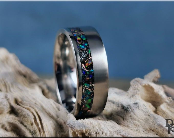 Titanium Offset 8mm Channel Ring w/Meteorite, Copper, and Multi-Opal inlay - metal ring