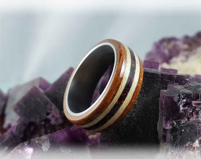 Bentwood Ring - Jatoba with Swiss Aspen and Black Fire Opal inlays, on titanium ring core