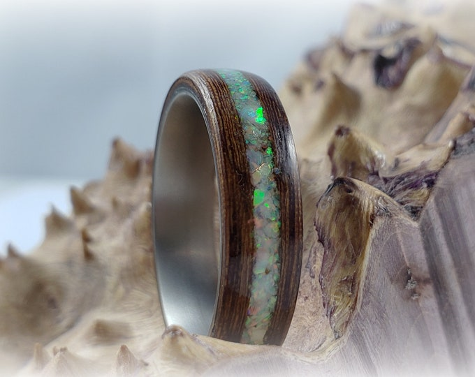 Bentwood Ring - Rare Angelique w/White Fire Opal inlay, titanium ring core.