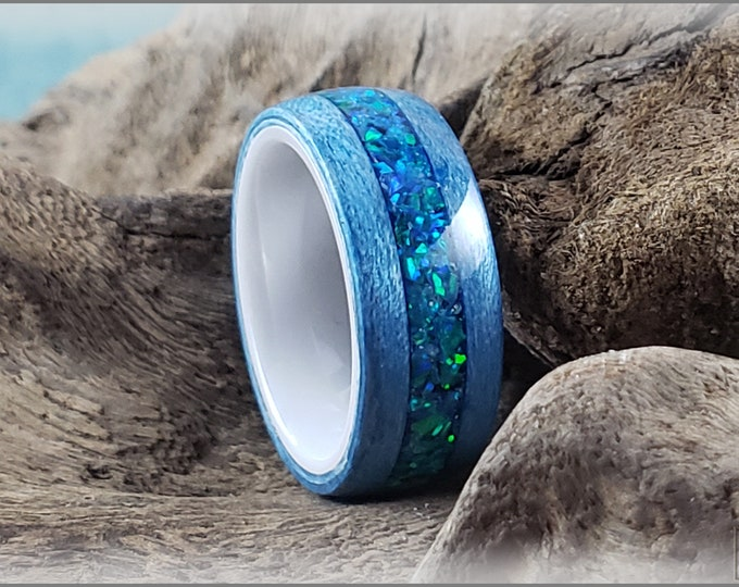Bentwood Ring - Denim Blue Tulipwood w/House Blend opal inlay on polished white ceramic ring core