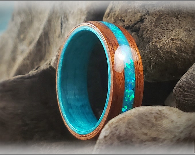 Dual Bentwood Ring - Honduran Mahogany w/Aqua Opal and Glow mix inlay, on bentwood Ocean Blue Koto ring core