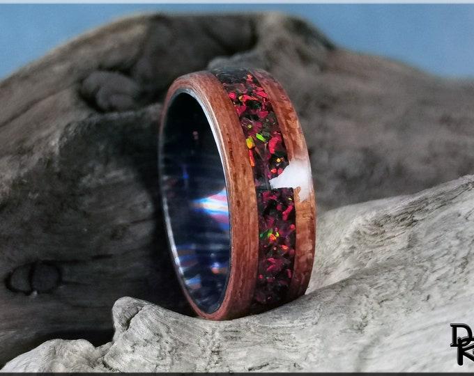 Bentwood Ring - Jatoba w/Black Cherry Opal inlay, on Timascus inner core - Wood Ring