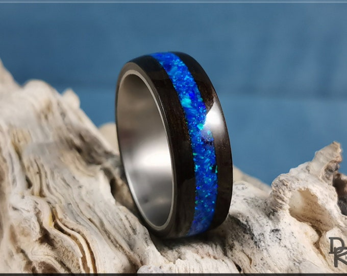 Bentwood Ring - Smoked Eucalyptus w/Sleepy Blue opal inlay on titanium ring core